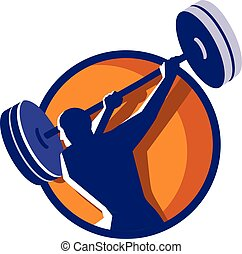 Weightlifter Swinging Barbell Rear Circle Retro