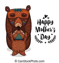 Card for Mothers Day with bears