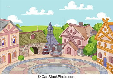 Old English Style Street - Illustration of old English style...