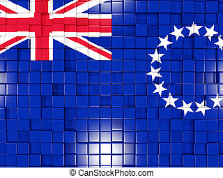 Background with square parts. Flag of cook islands. 3D...