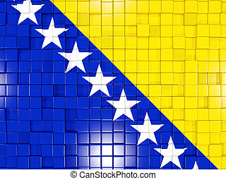 Background with square parts Flag of bosnia and herzegovina...