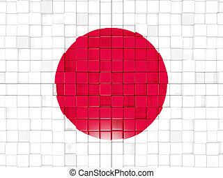 fundo, com, quadrado, parts., bandeira, de, japan., 3D,...