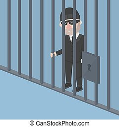 Business man thief inside jail