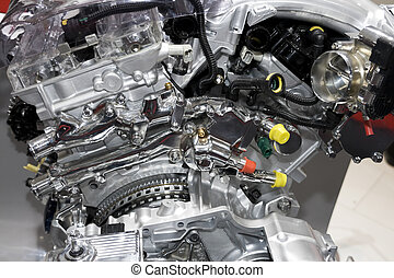 automobile engine - Complex engine of modern car interior...