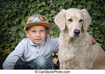 Little boy with a golden retriever - little cute boy playing...