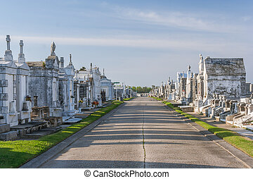 Classical colonial French cemetery in New Orleans, Louisiana...