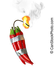 pepper dynamite - group of red chilli peppers with burning...