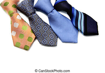 ties of different colors on a white background