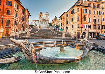 Spanish Steps in Rome - Spanish Steps at morning in Rome,...