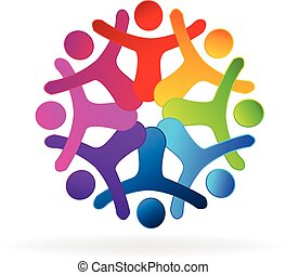 People holding hands logo - People holding hands Concept of...