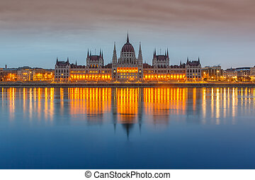 Parliament building, Budapest - Parliament building at dusk,...