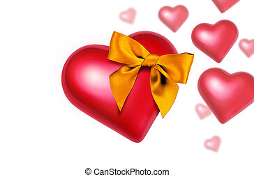 Heart with Bow Falling - Big red heart with a shining golden...