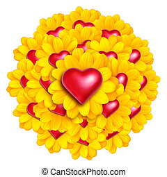 Heart Flowers - Arrangement of yellow flowers with red love...