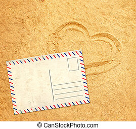 Retro postcard on sand texture
