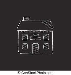 Two storey detached house Drawn in chalk icon - Two storey...