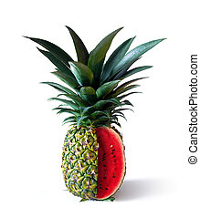 Pinemelon 2 - Pineapple with watermelon interior isolated in...
