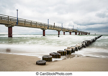 Pier on the Baltic Sea coast in Zingst Germany