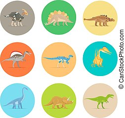 Dinosaurs flat icons - Dinosaurs flat colorful icons...