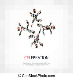 celebration people sign 3d - Isometric set of...