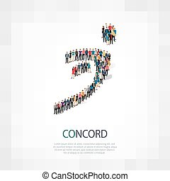 concord people 3d - Isometric set of styles, concord sign ,...