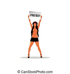 Naked Girl with a placard protesting. Vector Illustration.