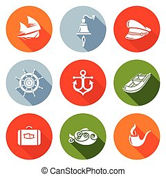 Sea voyage, the captain Icons Set Vector Illustration -...