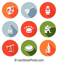 Russian World Icons Set Vector Illustration - Isolated Flat...