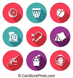 Color revolutions and coup Icons Set. Vector Illustration. -...