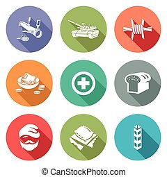 Refugees and fighting Icons Set Vector Illustration -...