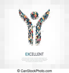 excellent people crowd - Isometric set of styles abstract ,...