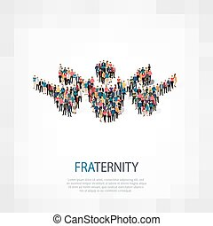 fraternity people sign 3d - Isometric set of styles,...