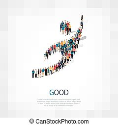 good people sign 3d - Isometric set of styles, good , web...