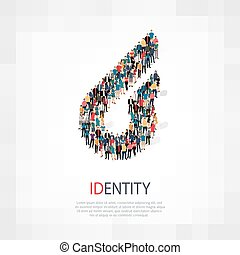 identity people sign 3d - Isometric set of styles, identity...