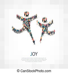 joy people sign 3d - Isometric set of styles, joy , web...