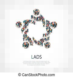 lads people sign - Isometric set of styles, lads , web...