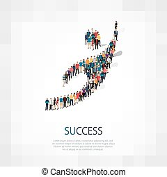 succes people sign 3d - Isometric set of styles, succes ,...