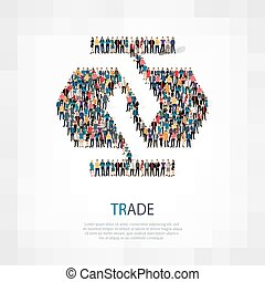 trade people crowd - Isometric set of trade , web...