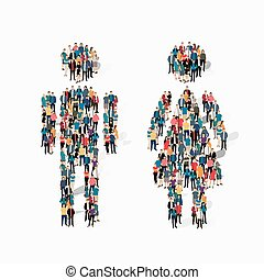 man woman people symbol - Isometric set of styles, man and...