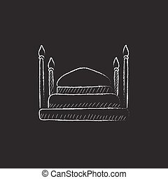 Taj Mahal Drawn in chalk icon - Taj Mahal Hand drawn in...