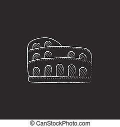 Coliseum. Drawn in chalk icon. - Coliseum. Hand drawn in...