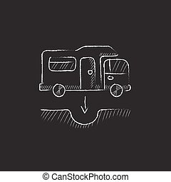 Motorhome and sump Drawn in chalk icon - Motorhome and sump...