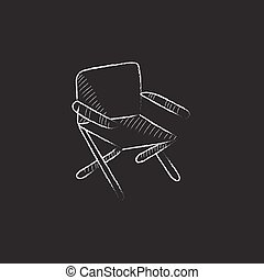 Folding chair. Drawn in chalk icon. - Folding chair. Hand...