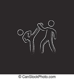 Karate fighters Drawn in chalk icon - Karate fighters Hand...