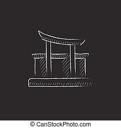 Torii gate Drawn in chalk icon - Torii gate Hand drawn in...