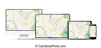 GPS Abstract generic city map with roads,
