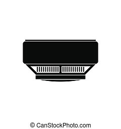 Smoke detector black simple icon isolated on white...