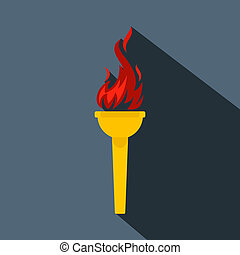 Burning torch flat icon on a grey background