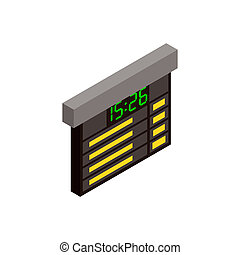 Railway time table isometric icon - Railway time table...