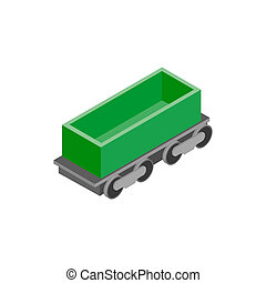 Open rail car isometric icon