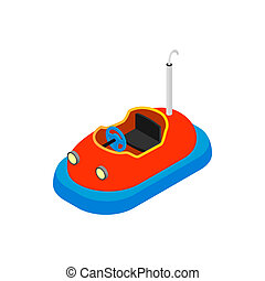 Bumper cars in amusement park isometric 3d icon on a white...